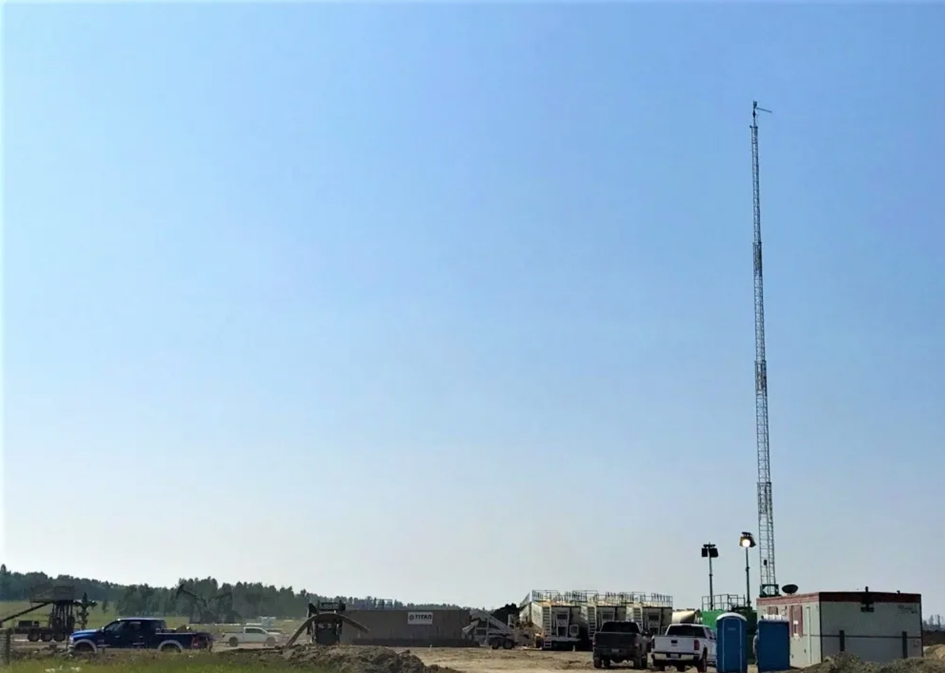 Communication tower at a remote worksite