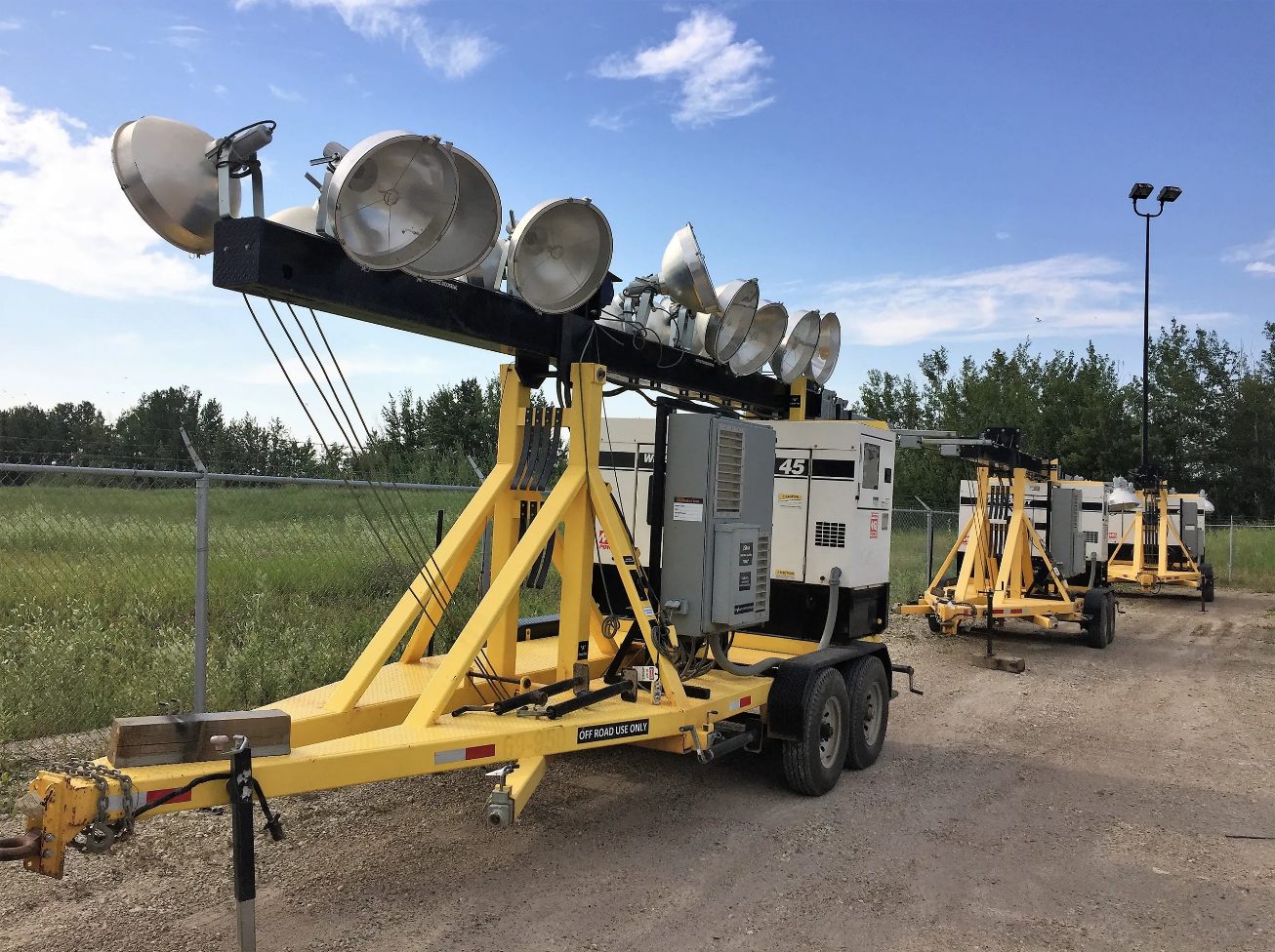 Light towers prior to being set up