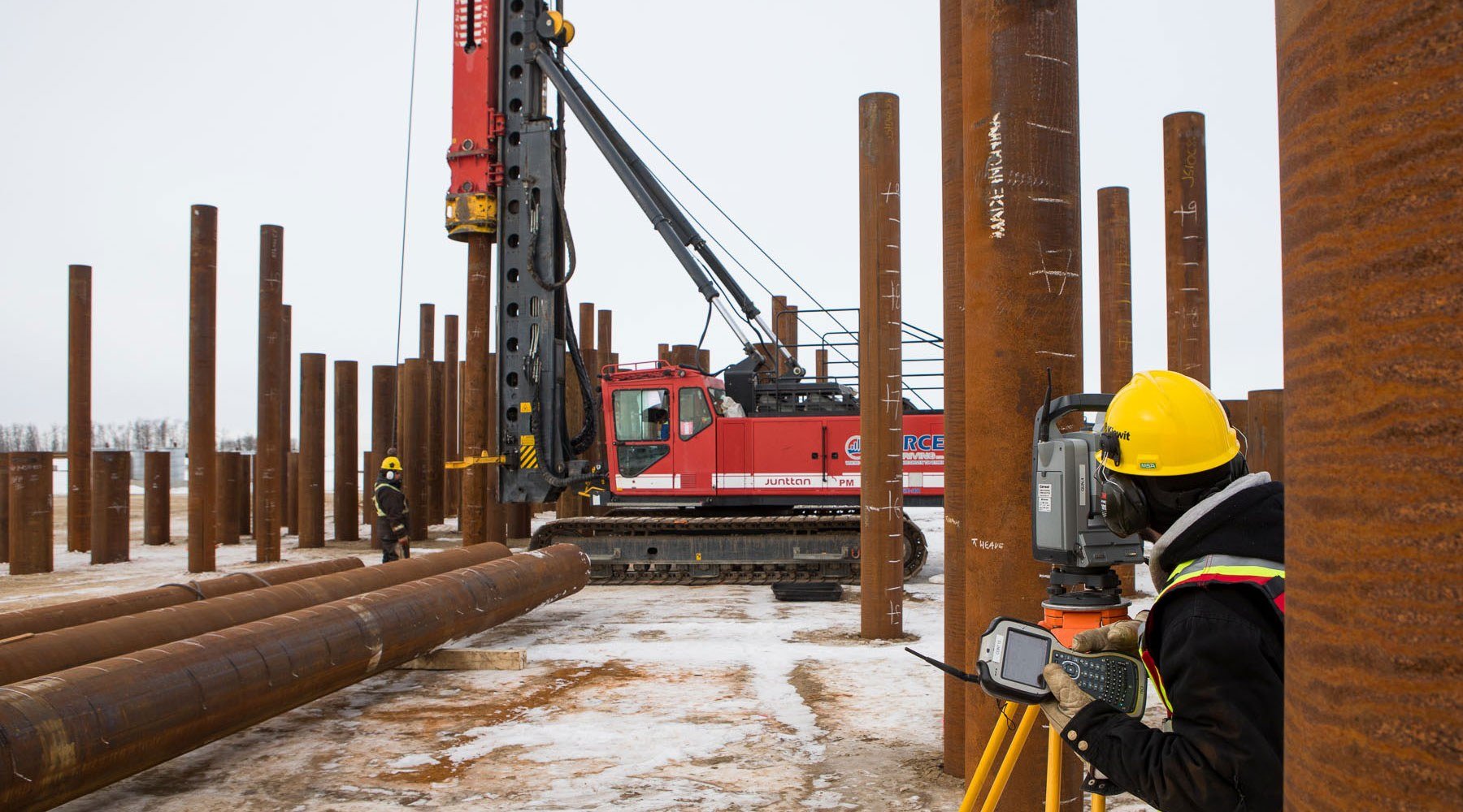 Piledriving being carried out