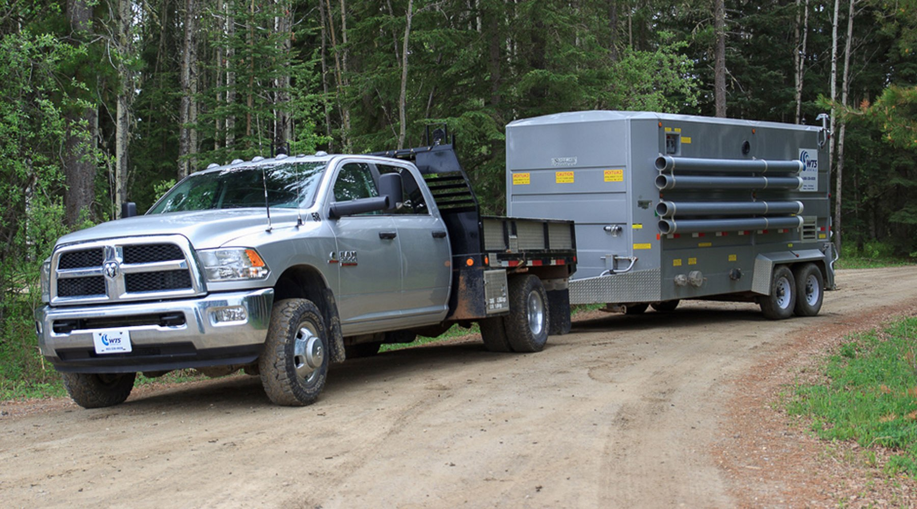 A pickup truck transporting a mobile accommodation unit