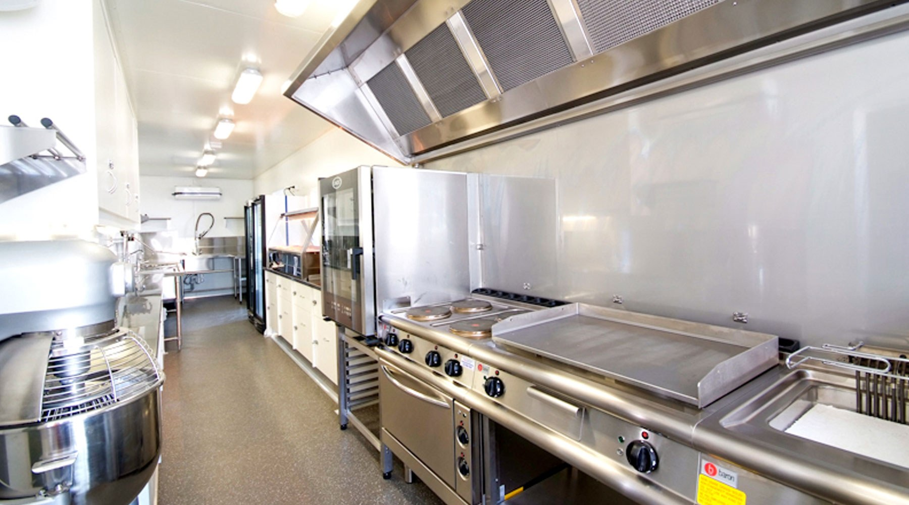 A catering area of a mobile work trailer