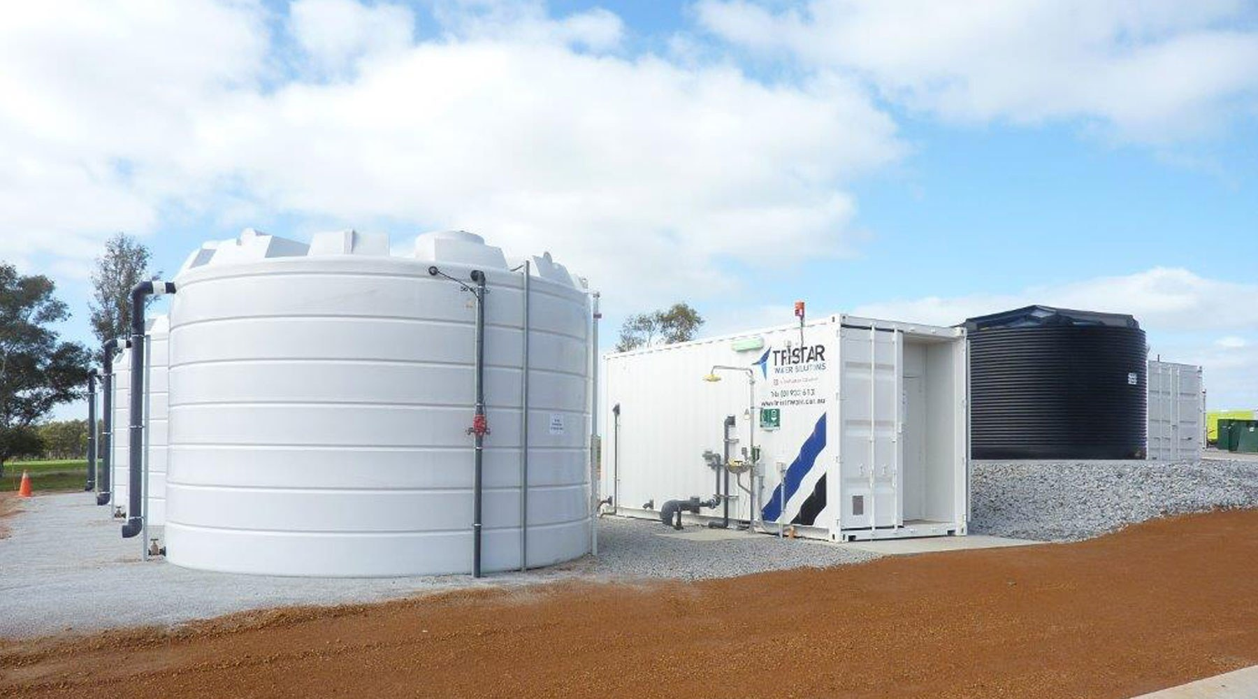 Tristar-branded water tanks and trailer
