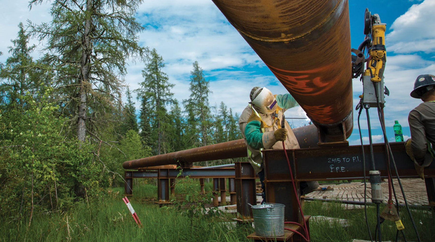 A worker carrying out maintenance on a pipeline in a forest landscape