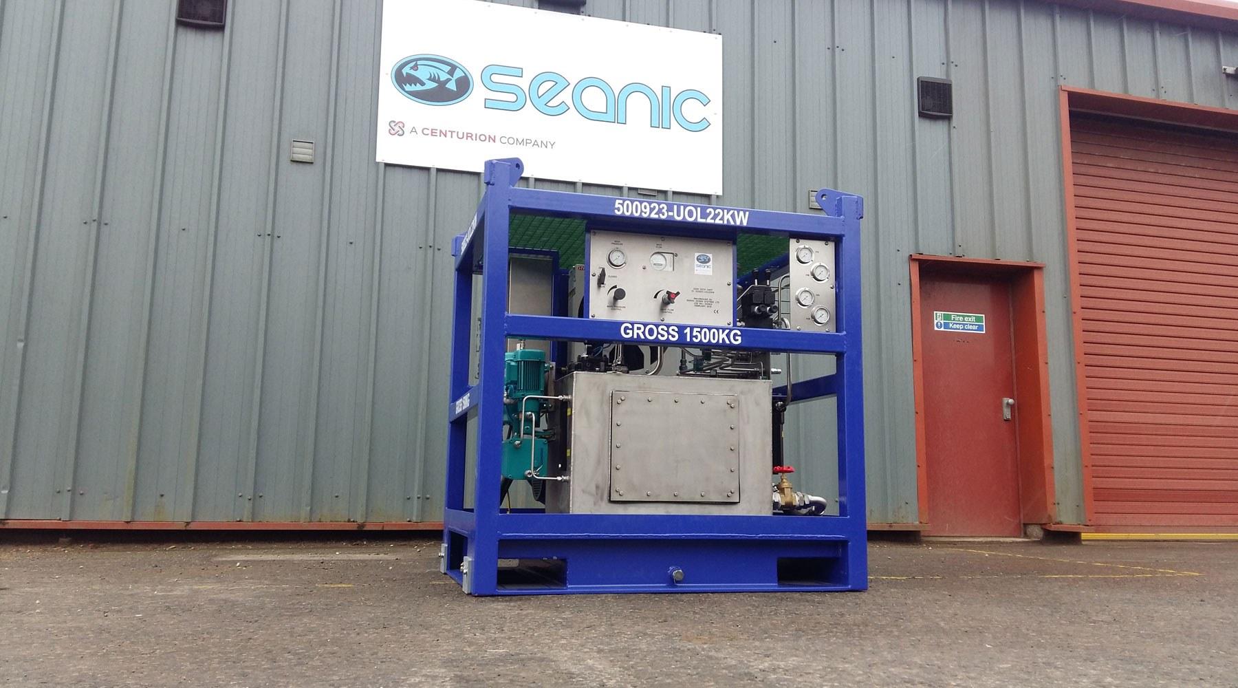 A hydraulic power unit in a Seanic workyard