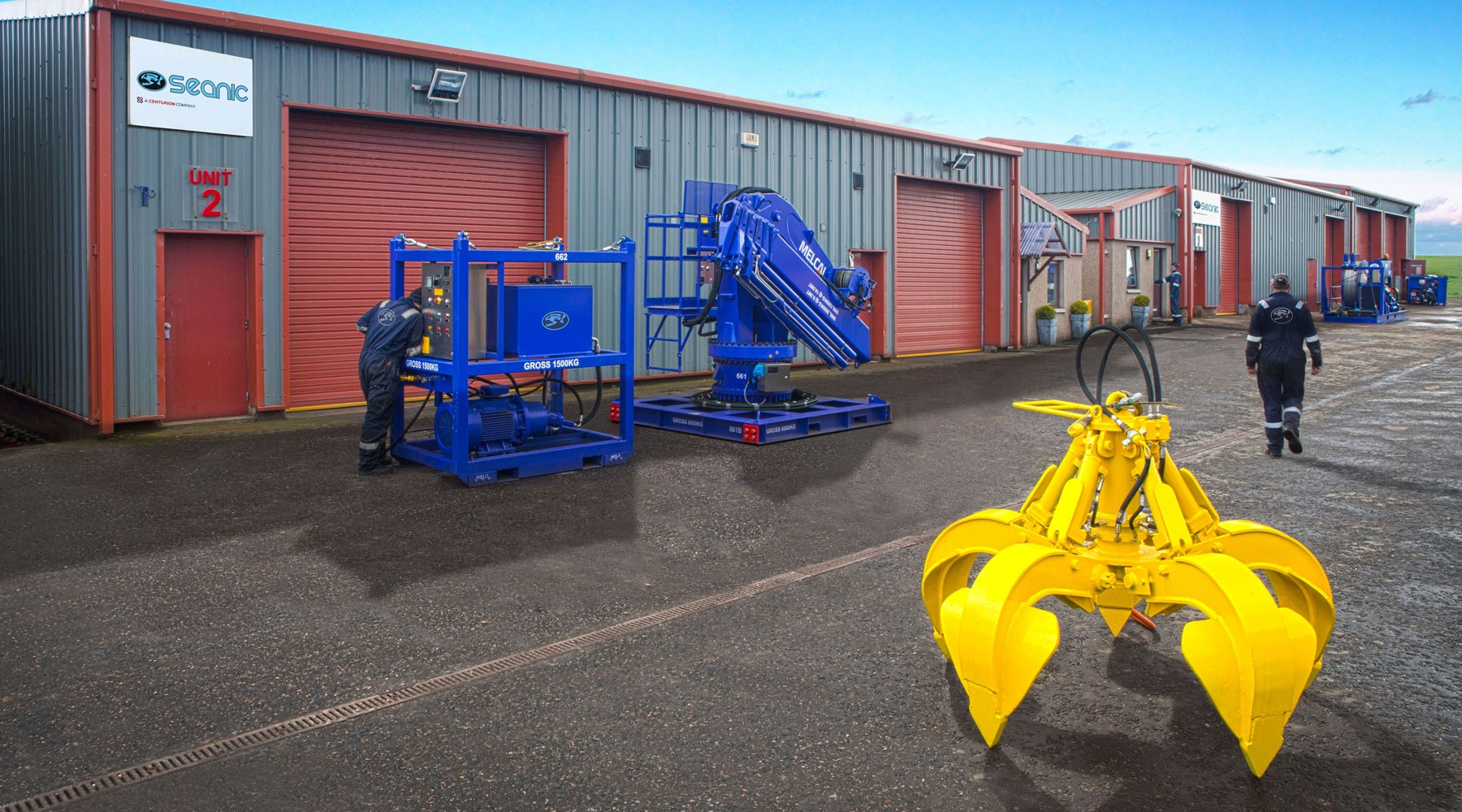 Seanic equipment in a work yard to be used for offshore decommissioning
