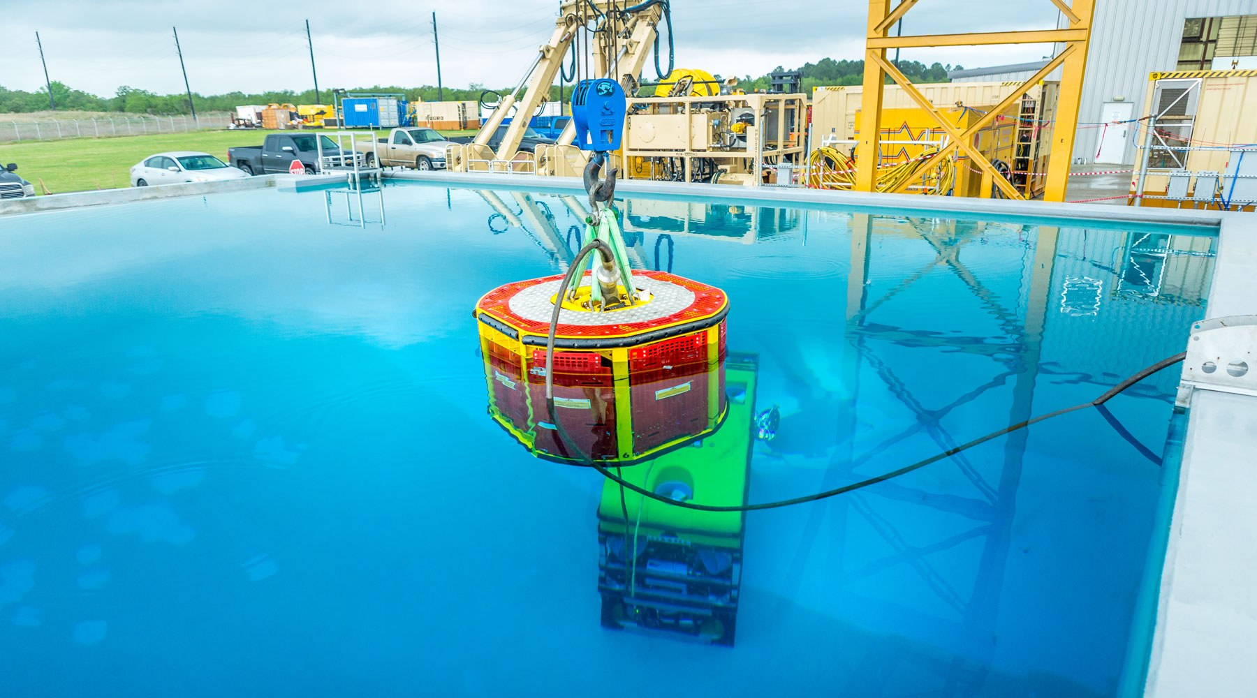 A piece of subsea equipment being tested in a tank of water